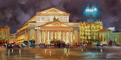 Moscow Wall Art - Painting - It's A Long Evening. Theatre Square. by Alexey Shalaev