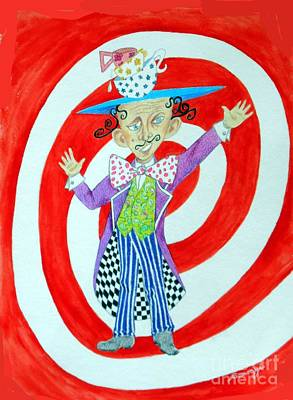 It's A Mad, Mad, Mad, Mad Tea Party -- Humorous Mad Hatter Portrait Art Print by Jayne Somogy