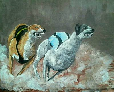 Greyhound Races Painting - It's A Photo Finish  by Alan Kennedy