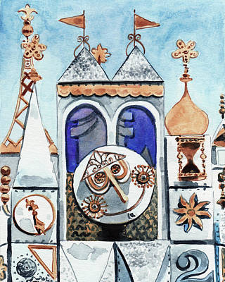 Cinderella Castle Painting - It's A Small World Clocktower Disneyworld Magic Kingdom Disneyland Disney Rides by Laura Row