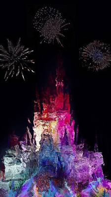 Fireworks Display Painting - It's A Small World by Mark Taylor