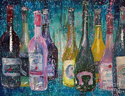 Wine Bottle Painting - Its About Living by Jodi Monahan