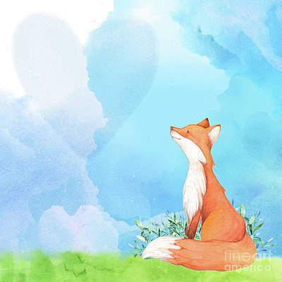 Critters Digital Art - It's All Love Fox Love by Tina Lavoie
