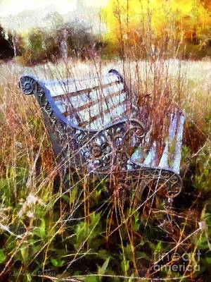 Woodland Mixed Media - It's Been Awhile - Park Bench by Janine Riley