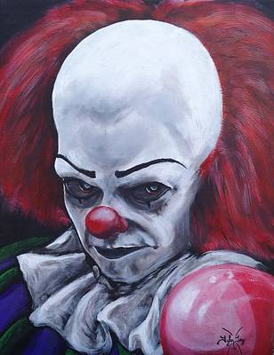 Evil Clown Painting - It's Coming by Tyler Haddox