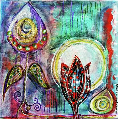 Intuitive Mixed Media - It's Connected To The Moon by Mimulux patricia no No