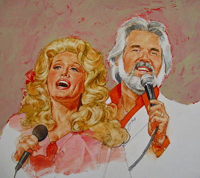 Its Country - 8  Dolly Parton Kenny Rogers Art Print by Cliff Spohn