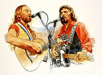 Its Country - 7  Waylon Jennings Willie Nelson Art Print by Cliff Spohn
