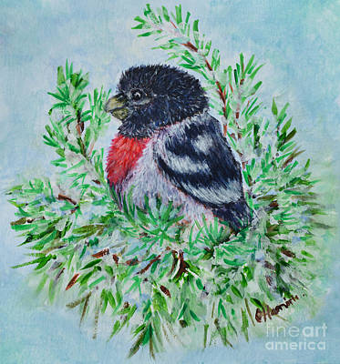 Painting - Winter Bird Inspired By Christmas by Olga Hamilton