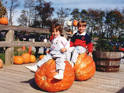 Photograph - It's Halloween - Picking Out Pumpkins by Merton Allen