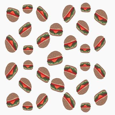 Lettuce Mixed Media - Its Raining Cheeseburgers by Kathleen Sartoris