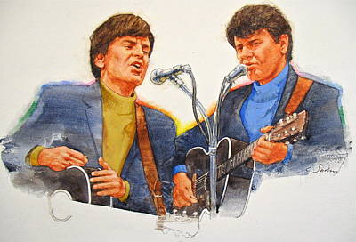Art Print featuring the painting Its Rock And Roll 4  - Everly Brothers by Cliff Spohn