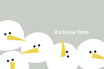 It's Snow Time Snow Heads- Art By Linda Woods Art Print by Linda Woods