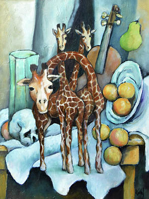 Painting - It's Still Life With Giraffes Gawking by Pic Michel