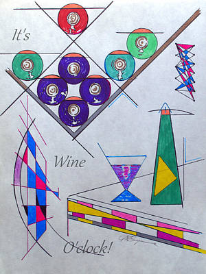 Digital Art - It's Wine O'clock Text by J R Seymour