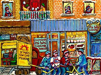 Montreal Winter Scenes Painting - Itsy Bitsy Cupcake Bakery St Henri Winter Scene Hockey Street Notre Dame Canadian Art Carole Spandau by Carole Spandau