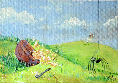 Nursery Rhyme Mixed Media - Itsy Bitsy Spider by Jennifer Kelly