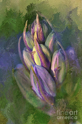 Art Print featuring the digital art Itty Bitty Baby Bluebells by Lois Bryan