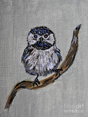 Painting - Itty-bitty Chickadee by Ella Kaye Dickey