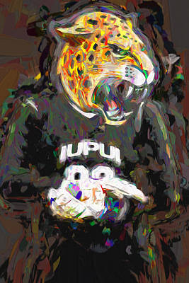 Photograph - Iupui University Jaguars Soccer Goalie Painted by David Haskett II