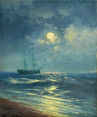 Moonlit Painting - Ivan Konstantinovitch Aivazovski by MotionAge Designs