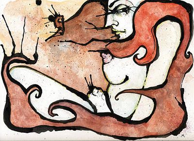 Watercolor And Pen Mixed Media - Ive Got A Feeling by Mark M  Mellon