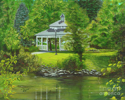 Art Print featuring the painting Ives Park Gazebo by Judy Filarecki