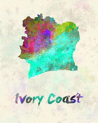 Ivory Coast In Watercolor Art Print