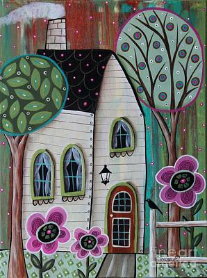 Folk Art Painting - Ivory Cottage by Karla Gerard
