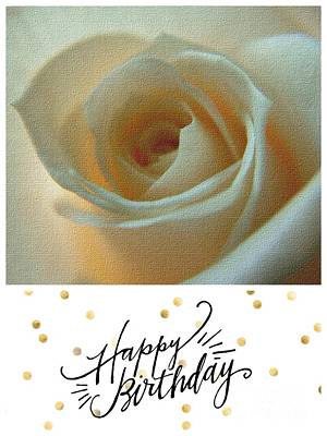Photograph - Ivory Rose Birthday Greeting by Joan-Violet Stretch