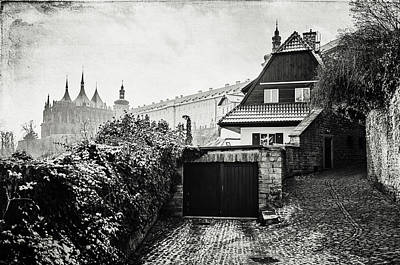 Photograph - Ivy Wall In Old Town Of Kutna Hora. Black And White by Jenny Rainbow