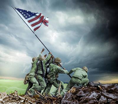 Iwo Jima 2nd Flag Raising Restored Art Print by Brent Shavnore