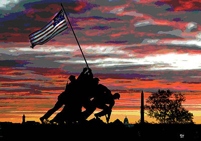Jefferson Memorial Mixed Media - Iwo Jima At Sunset by Charles Shoup