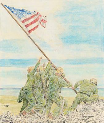 Iwo Jima Drawing - Iwo Jima by Dennis Larson