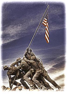 Iwo Jima Flag Raising Art Print by Dennis Cox