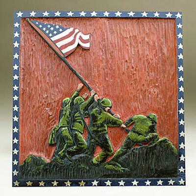 Folk Art Woodcarving Painting - Iwo Jima by James Neill