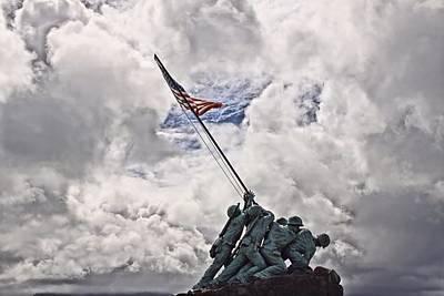 Raising Photograph - Iwo Jima Memorial by DJ Florek