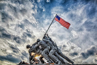 Sundown Photograph - Iwo Jima Memorial by Susan Candelario