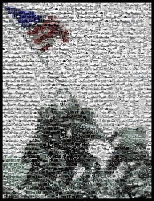 Raising Mixed Media - Iwo Jima War Mosaic by Paul Van Scott