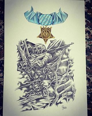 Iwo Jima Drawing - Iwo Jima by Warren Gibson