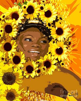 Orishas Mixed Media - Iyalorde Girasoles by Liz Loz