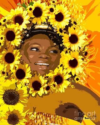 Oshun Mixed Media - Iyalorde Girasoles by Liz Loz