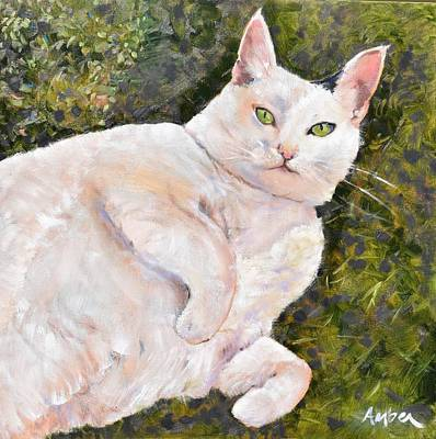 Albino Painting - Izzie On The Grass by Amber Foote