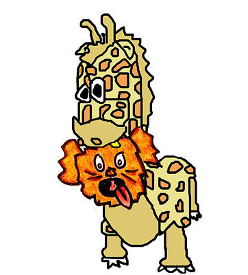 Puppy Digital Art - Izzy As Giraffe by Jera Sky