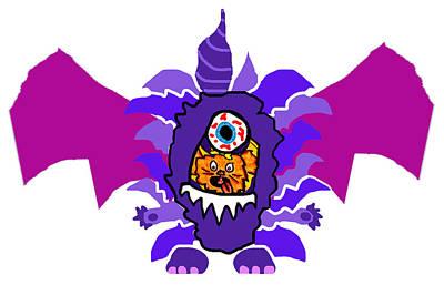 Izzy Purple People Eater Costume Art Print by Jera Sky