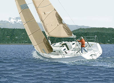 Painting - J-109 Sailboat Off Comox B.c. by Gary Giacomelli