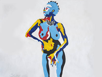 Life Model Painting - J Anderson Standing Nude by Stormm Bradshaw