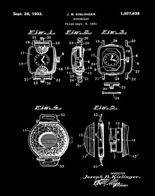 Sepia Chalk Drawing - J B Kislinger Watch Patent 1933 Black by Bill Cannon