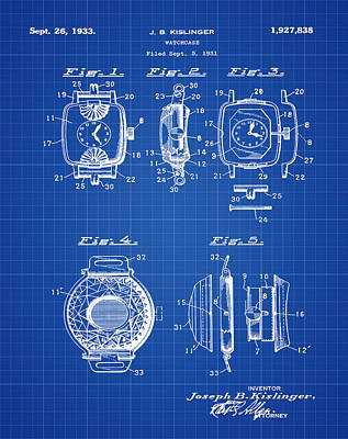 Sepia Chalk Drawing - J B Kislinger Watch Patent 1933 Blue Print by Bill Cannon
