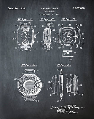 Sepia Chalk Drawing - J B Kislinger Watch Patent 1933 Chalk by Bill Cannon